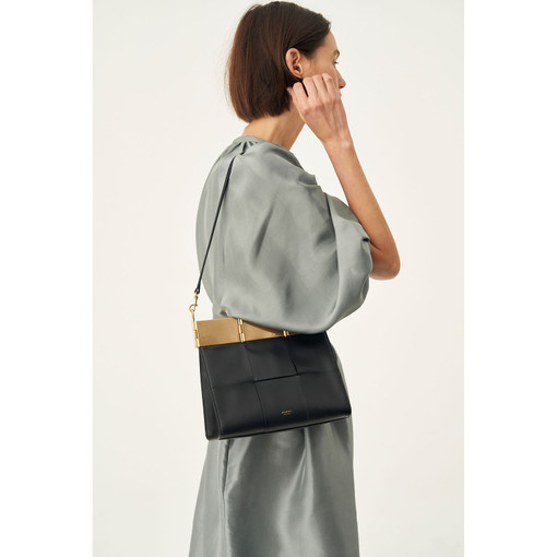 Oroton Cassia Woven Medium Woven Bag in Black and Smooth Leather for female