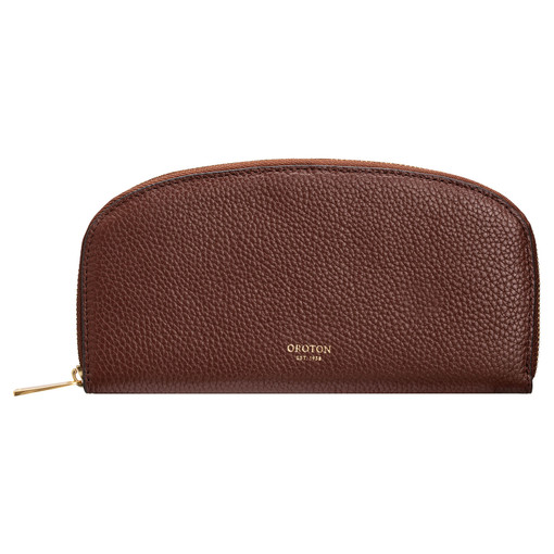 Oroton Daria Medium Arc Wallet in Nutmeg and Pebble Leather for female