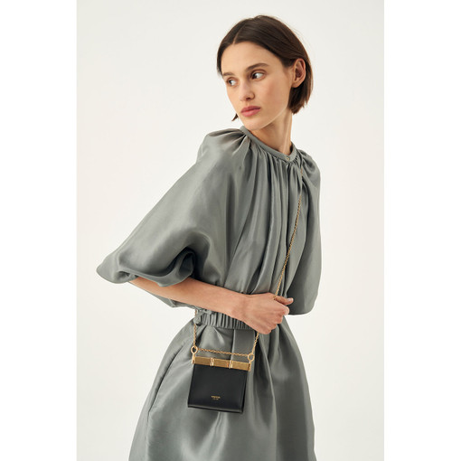 Oroton Cassia Mini Crossbody in Black and Smooth Leather for female