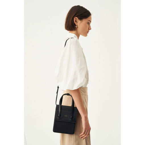 Oroton Evelyn Mini Day Bag in Black and Smooth Leather for female