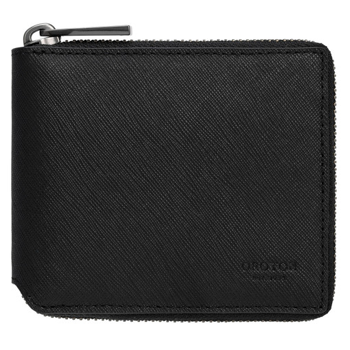 Oroton Eton Small Zip Wallet in Black and Saffiano/Smooth Leather for male