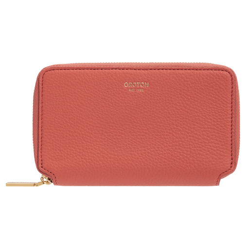 Oroton Duo Mini Book Wallet in Faded Red and Pebble Leather for female
