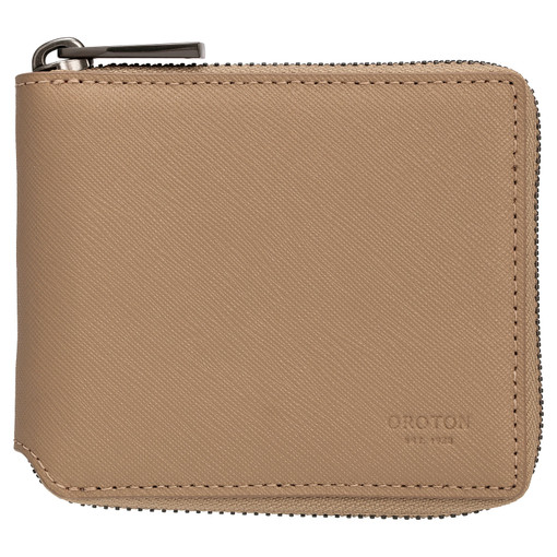 Oroton Eton Small Zip Wallet in Khaki and Saffiano/Smooth Leather for male