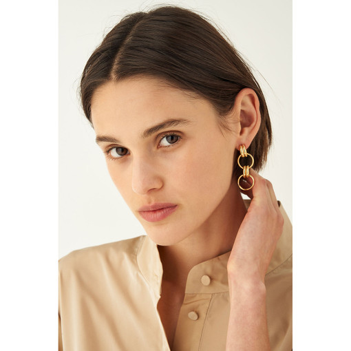 Oroton Brooklyn Hoop Earrings in Gold and Brass Base Metal With Precious Metal Plating for female