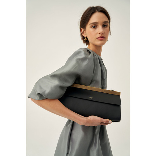 Oroton Jerome Baguette Bag in Black and Smooth Leather for female