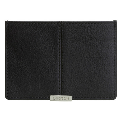 Oroton Austere Credit Card Sleeve in Black and Black Leather for male