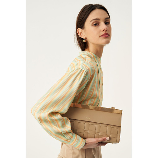 Oroton Jerome Woven Baguette Bag in Khaki and Smooth Leather for female