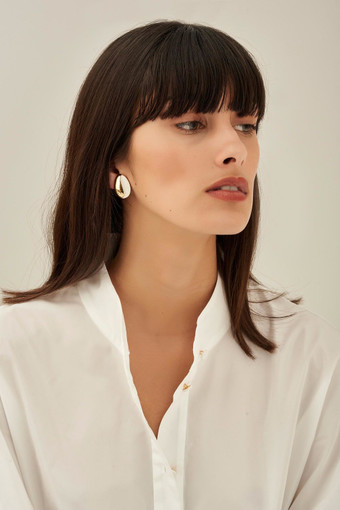 Oroton Reis Clip On Earrings in Gold/Pure White and Brass Base Metal With Precious Metal Plating/Enamel for female