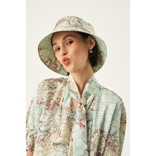 Oroton Jerome Map Print Bucket Hat in Dusty Mint and 100% Silk for female
