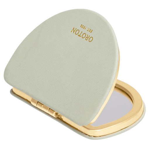 Oroton Ivy Metal Compact Mirror in Green Birch and Smooth Leather for female