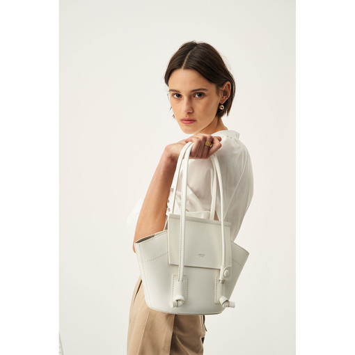 Oroton Klara Small Tote in White and Smooth Leather for female