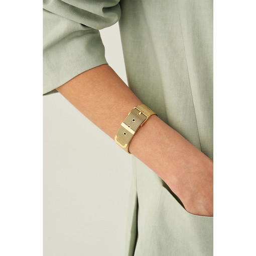 Oroton Freya Wide Bracelet in Gold and Stainless Chain With Ion Plating for female