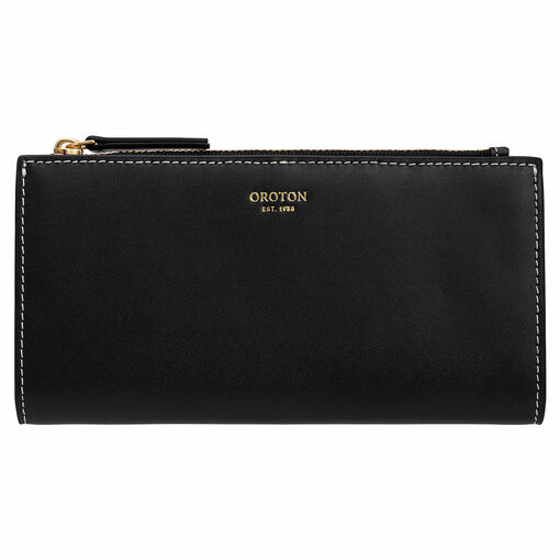 Oroton Klara Slim Zip Wallet in Black and Smooth Leather for female