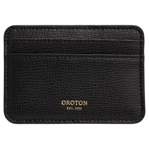 Oroton Globe Card Holder in Black and Cross Grain Leather for female