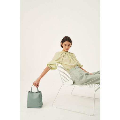 Oroton Muse Medium Bucket in Sage and Saffiano Leather for female
