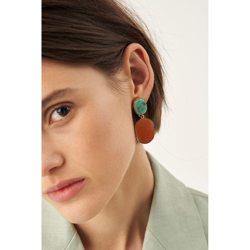 Oroton Millie Stone Earrings in Gold/Turquoise/Treacle and Brass Base Metal With Precious Metal Plating/Stone/Resin Stone for female
