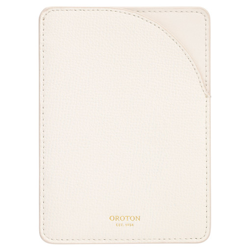 Oroton Globe Minimal Passport Sleeve in Cream and Cross Grain Leather for female