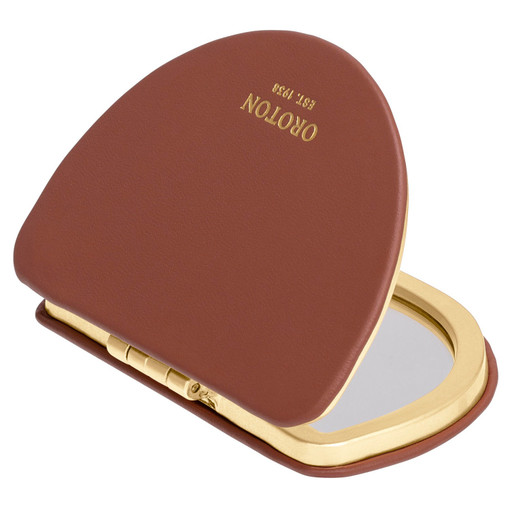 Oroton Ivy Metal Compact Mirror in Rustic Brown and Smooth Leather for female