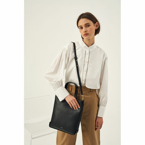 Oroton Minna Small Tote in Black and Smooth Leather for female