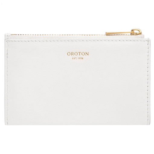 Oroton Lilia 4 Credit Card Zip Pouch in Pure White and Smooth Leather for female