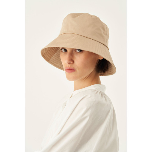 Oroton Jerome Twill Bucket Hat in Biscuit and 70% Cotton 30% Linen for female