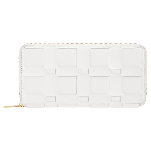 Oroton Jerome Woven Slim Book Wallet in White and Smooth Leather for female
