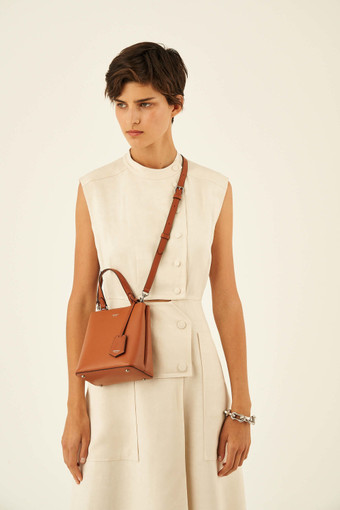 Oroton Muse Mini Bucket in Cognac and Saffiano Leather for female