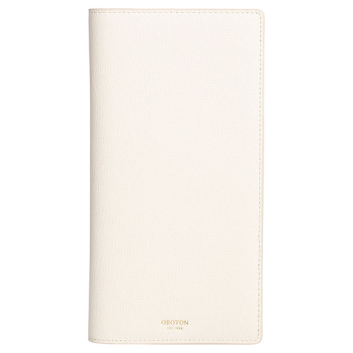 Oroton Globe Slim Travel Wallet in Cream and Cross Grain Leather for female