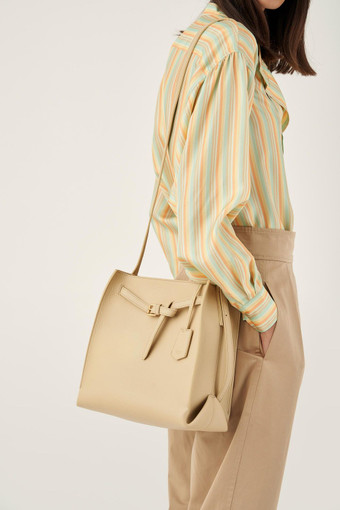 Oroton Margot Bucket Bag in Light Sand and Pebble Leather for female