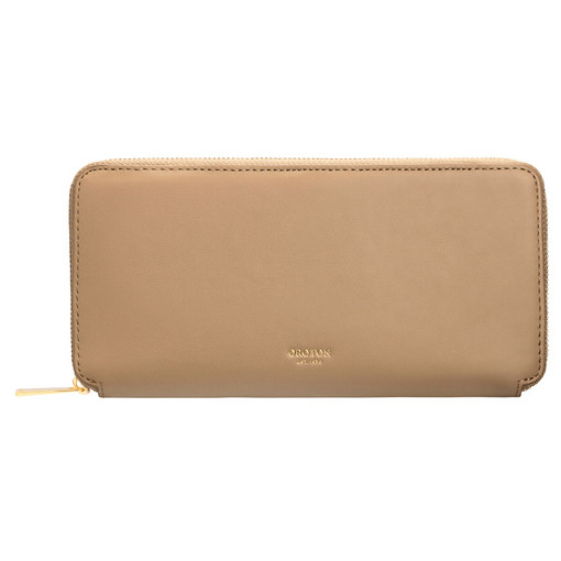 Oroton Jerome Slim Book Wallet in Khaki and Smooth Leather for female