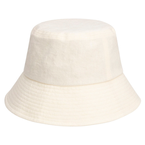 Oroton Jerome Linen Bucket Hat in Lemon Curd and 100% Linen for female