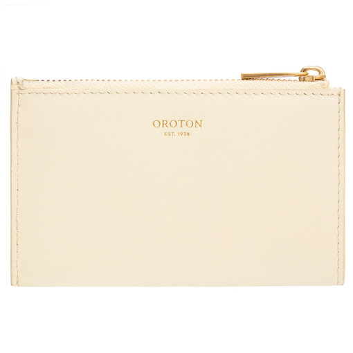 Oroton Lilia 4 Credit Card Zip Pouch in Pale Lemon Curd and Smooth Leather for female