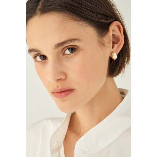 Oroton Reis Studs in Gold/Pure White and Brass Base Metal With Precious Metal Plating/Enamel for female
