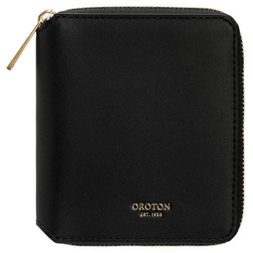 Oroton Jerome Small 7 Credit Card Zip Wallet in Black and Smooth Leather for female