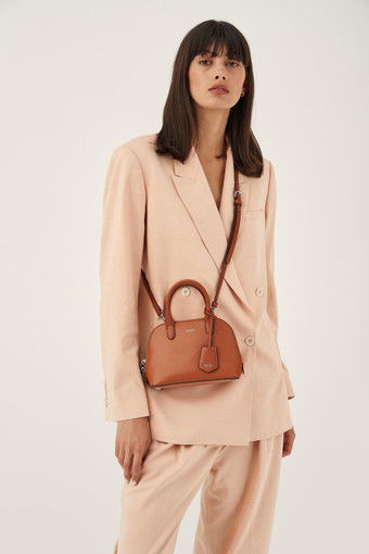 Oroton Muse Micro Griptop in Cognac and Two Tone Saffiano/Smooth Leather for female