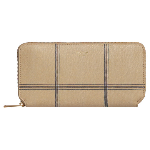 Oroton Muse Check Medium Zip Wallet in Windowpane and Two Tone Saffiano Leather / Soft Nappa Leather for female