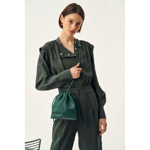 Oroton Lilia Crossbody in Loden Green and Smooth Leather for female