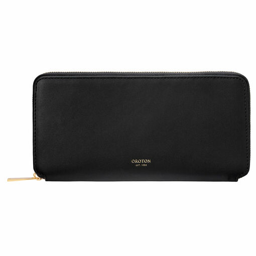 Oroton Jerome Slim Book Wallet in Black and Smooth Leather for female