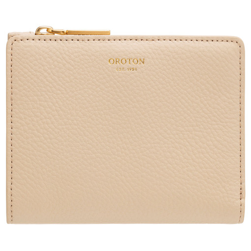 Oroton Margot Mini Fold Wallet in Light Sand and Pebble Leather for female