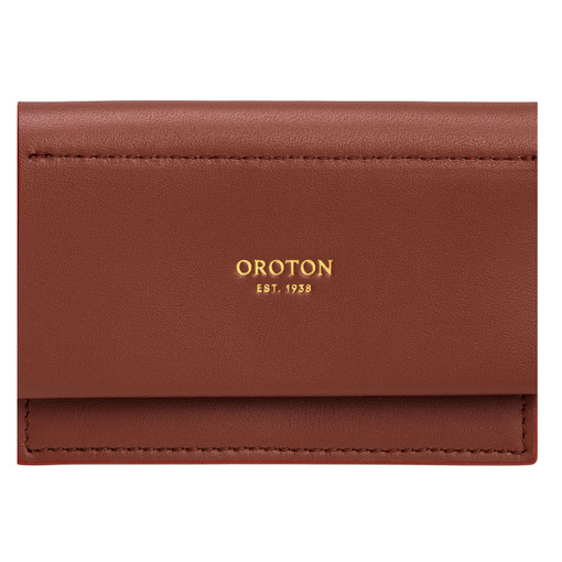 Oroton Evelyn Multi Gusset Card Holder in Rustic Brown and Smooth Leather for female
