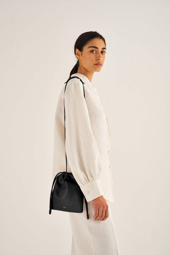 Oroton Lilia Crossbody in Black and Smooth Leather for female