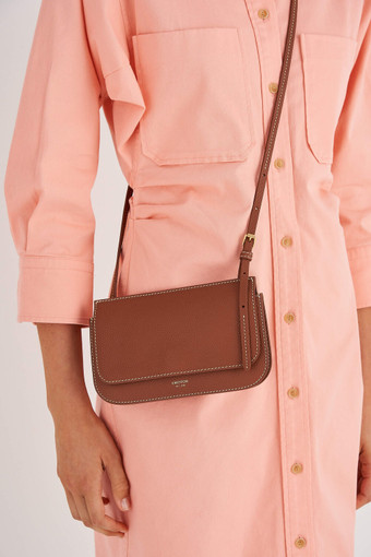 Oroton Margot Mini Crossbody in Whiskey and Pebble Leather for female