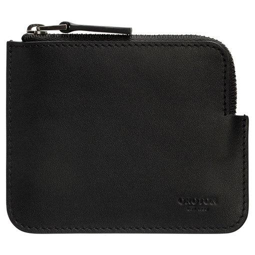 Oroton Theo Zip Pouch in Black and Smooth Leather for male