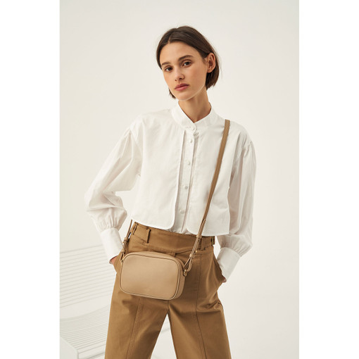 Oroton Minna Zip Around Crossbody in Khaki and Smooth Leather for female