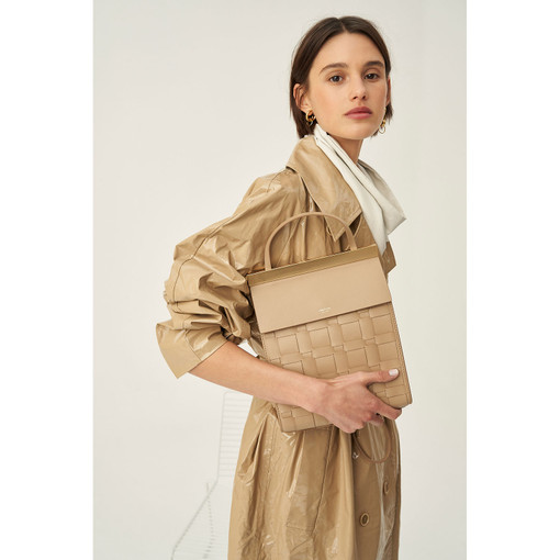 Oroton Jerome Woven Day Bag in Khaki and Smooth Leather for female