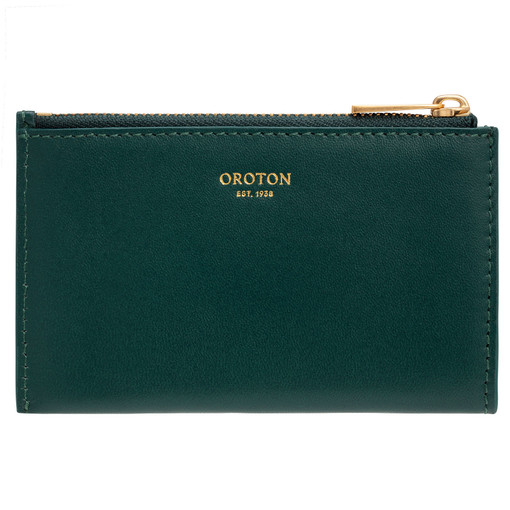 Oroton Lilia 4 Credit Card Zip Pouch in Loden Green and Smooth Leather for female