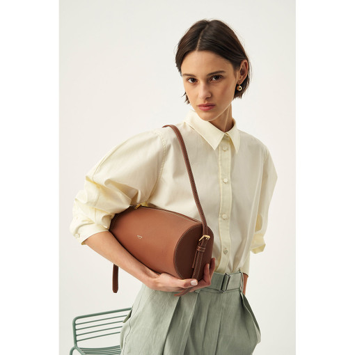 Oroton Margot Large Drum Bag in Whiskey and Pebble Leather for female