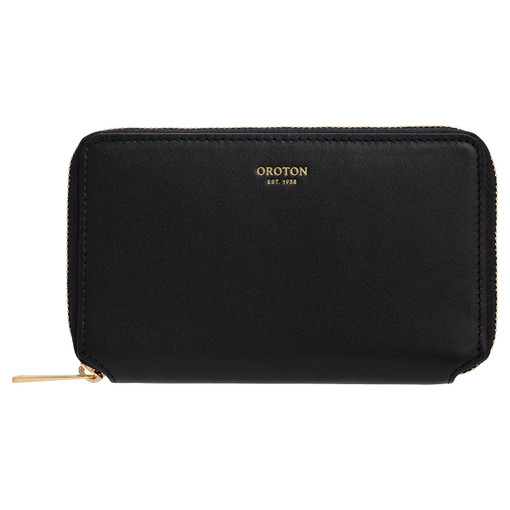 Oroton Evelyn Small Book Wallet in Black and Smooth Leather for female