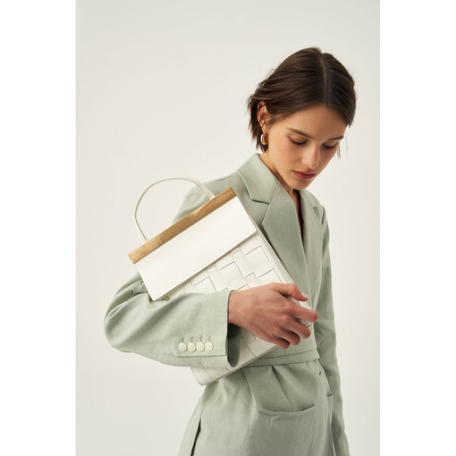 Oroton Jerome Woven Day Bag in White and Smooth Leather for female