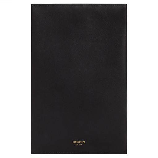 Oroton Olivia Large Pencil Case in Black and Smooth Leather for female